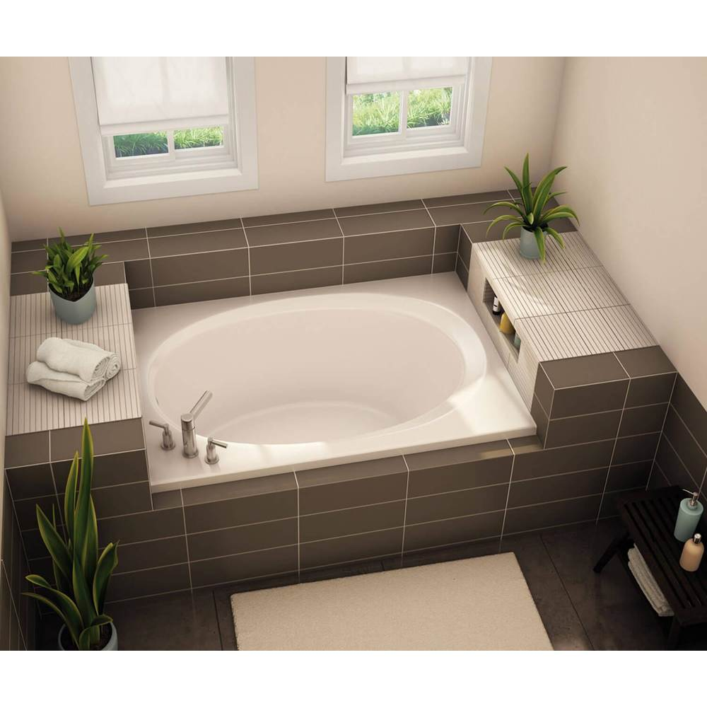 Aker OVF-4260 60 in. x 42 in. Oval Drop-in Bathtub with Right Drain in Thunder Grey