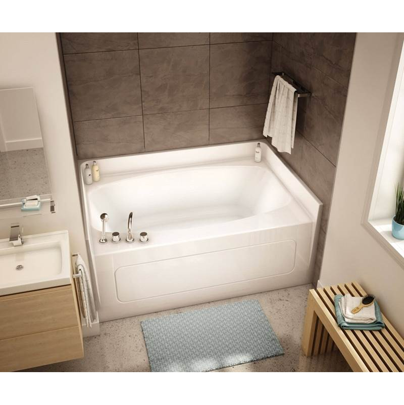 Aker GT-4260AP 60 in. x 42 in. Rectangular Alcove Bathtub with Center Drain in Biscuit