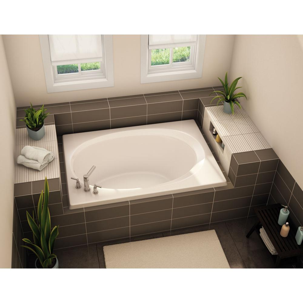 Aker OV-4260 60 in. x 42 in. Oval Drop-in Bathtub with End Drain in Biscuit
