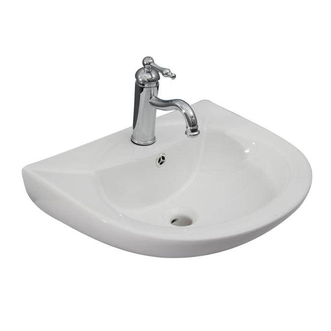 Barclay Banks  Wall-Hung for 4''ccFaucet Hole, Overflow, White