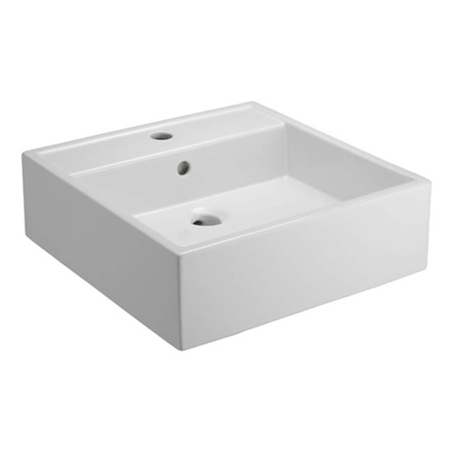 Barclay Nova Above Counter Basin, One-Hole, Fire Clay, White