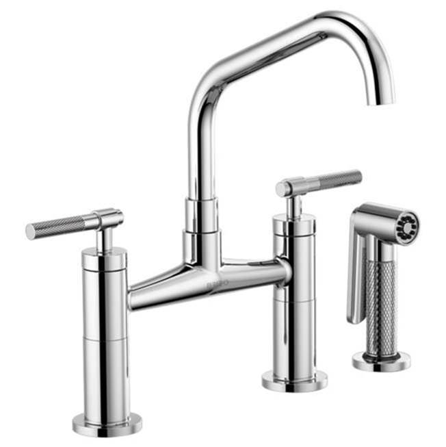 Brizo Litze: Bridge Faucet with Angled Spout and Knurled Handle
