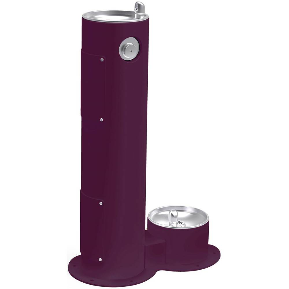 Elkay Elkay Outdoor Fountain Pedestal with Pet Station, Non-Filtered Non-Refrigerated, Freeze Resistant, Purple