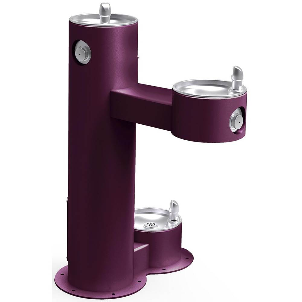 Elkay Elkay Outdoor Fountain Bi-Level Pedestal with Pet Station, Non-Filtered Non-Refrigerated, Freeze Resistant, Purple