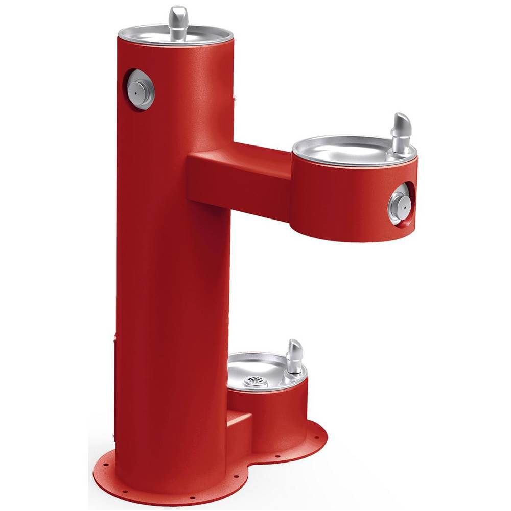 Elkay Elkay Outdoor Fountain Bi-Level Pedestal with Pet Station, Non-Filtered Non-Refrigerated, Freeze Resistant, Red