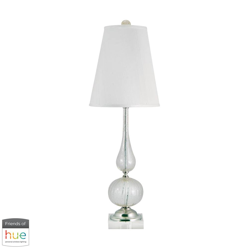 Elk Home Serrated Venetian Glass Table Lamp In Clear And Gold - With Philips Hue Led Bulb/Dimmer