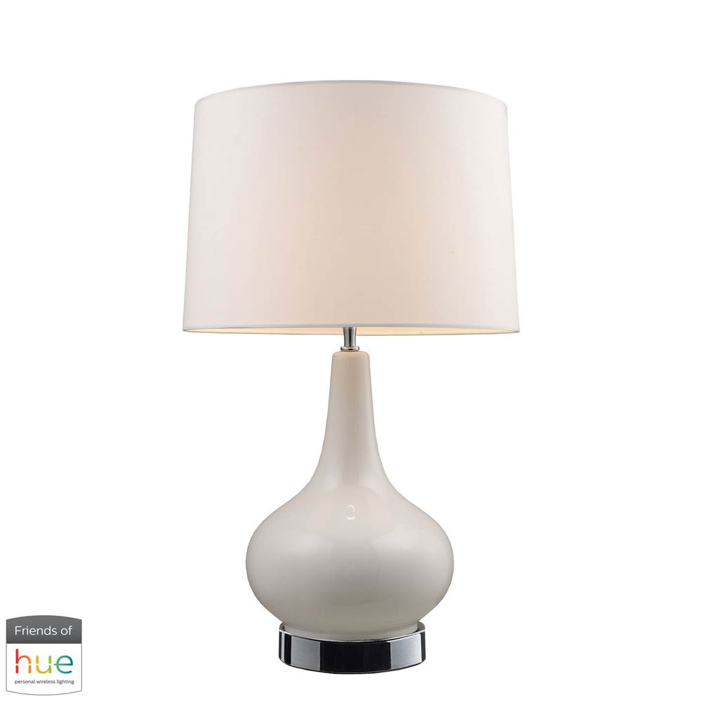 Elk Home Continuum Table Lamp In White With Chrome Hardware - With Philips Hue Led Bulb/Bridge