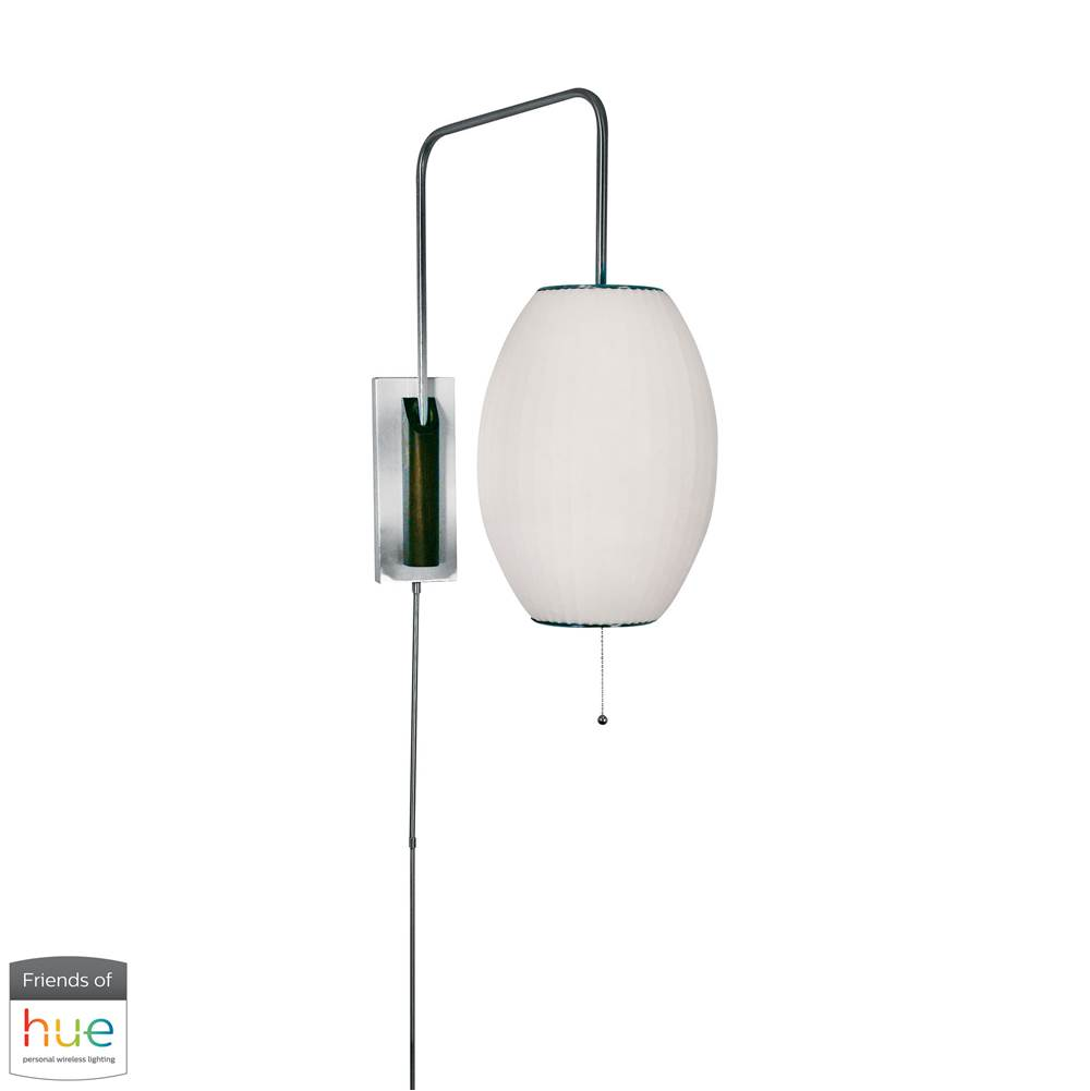 Elk Home Cigar Swingarm Wall Sconce In White - With Philips Hue Led Bulb/Bridge