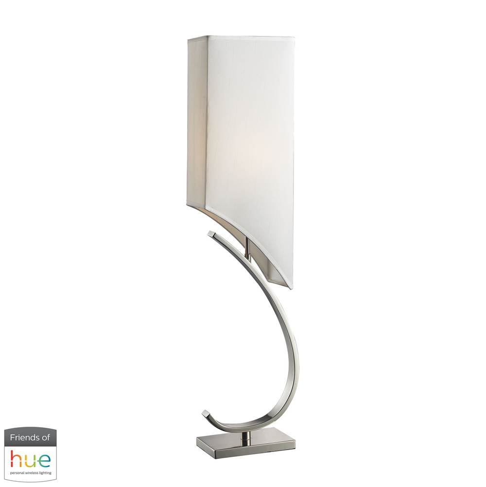 Elk Home Appleton Table Lamp In Polished Nickel With Pure White Shade - With Philips Hue Led Bulb/Bridge