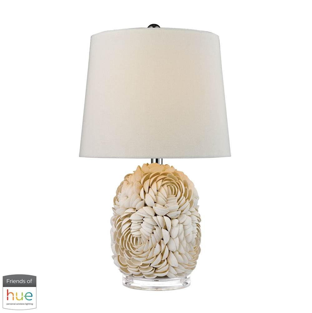 Elk Home Natural Shell Table Lamp With off White Linen Shade - With Philips Hue Led Bulb/Bridge