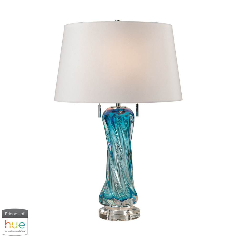Elk Home Vergato Free Blown Glass Table Lamp In Blue - With Philips Hue Led Bulb/Bridge