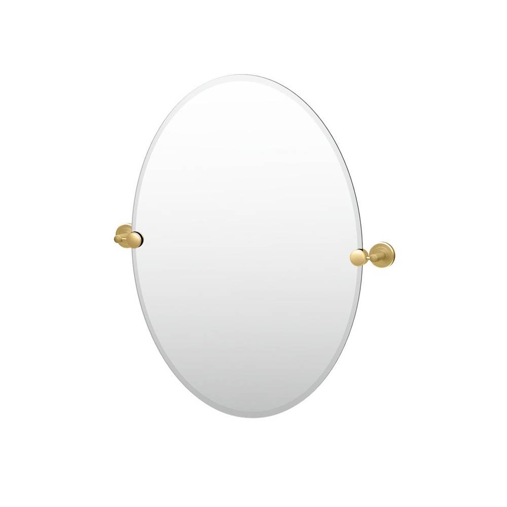 Gatco Latitude II 26.5'' H Frameless Oval Mirror, Brushed Brass