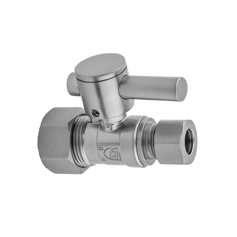 Jaclo Quarter Turn Straight Pattern 5/8'' O.D. Compression (Fits 1/2'' Copper) x 3/8'' O.D. Supply Valve with Contempo Lever Handle