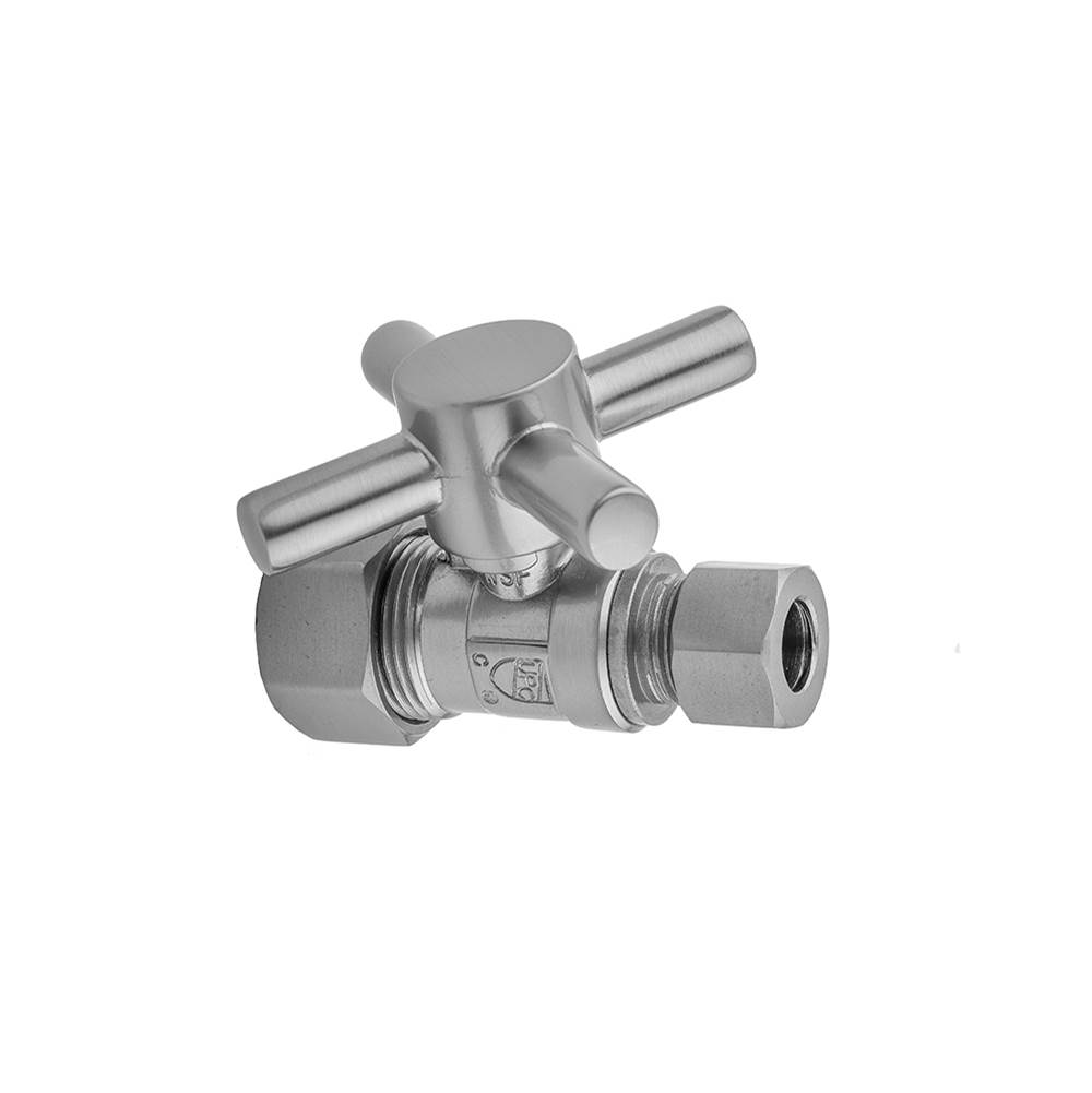 Jaclo Quarter Turn Straight Pattern 5/8'' O.D. Compression (Fits 1/2'' Copper) x 3/8'' O.D. Supply Valve with Contempo Cross Handle