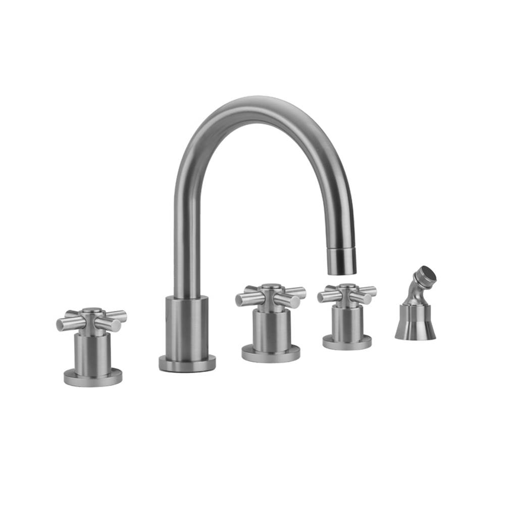 Jaclo Contempo Roman Tub Set with Contempo Cross Handles and Angled Handshower Holder