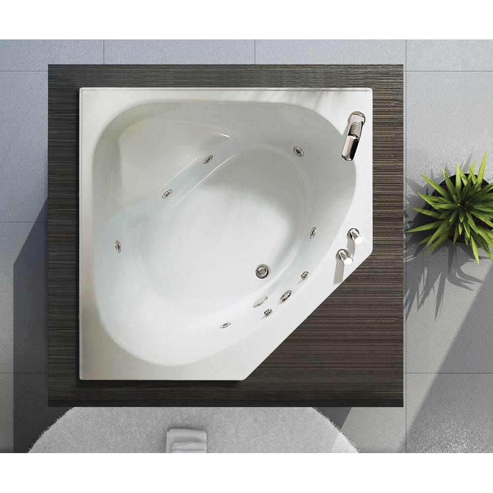 Maax Tandem II 60 in. x 60 in. Corner Bathtub with Aeroeffect System Center Drain in White