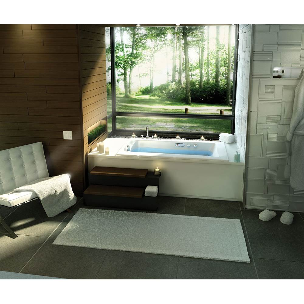 Maax Release 59.75 in. x 32 in. Alcove Bathtub with Aerofeel System Left Drain in White