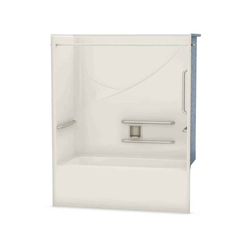 Maax OPTS-6032 - with ANSI Grab Bars 57 in. x 31.5 in. x 69.75 in. 1-piece Tub Shower with Left Drain in Biscuit