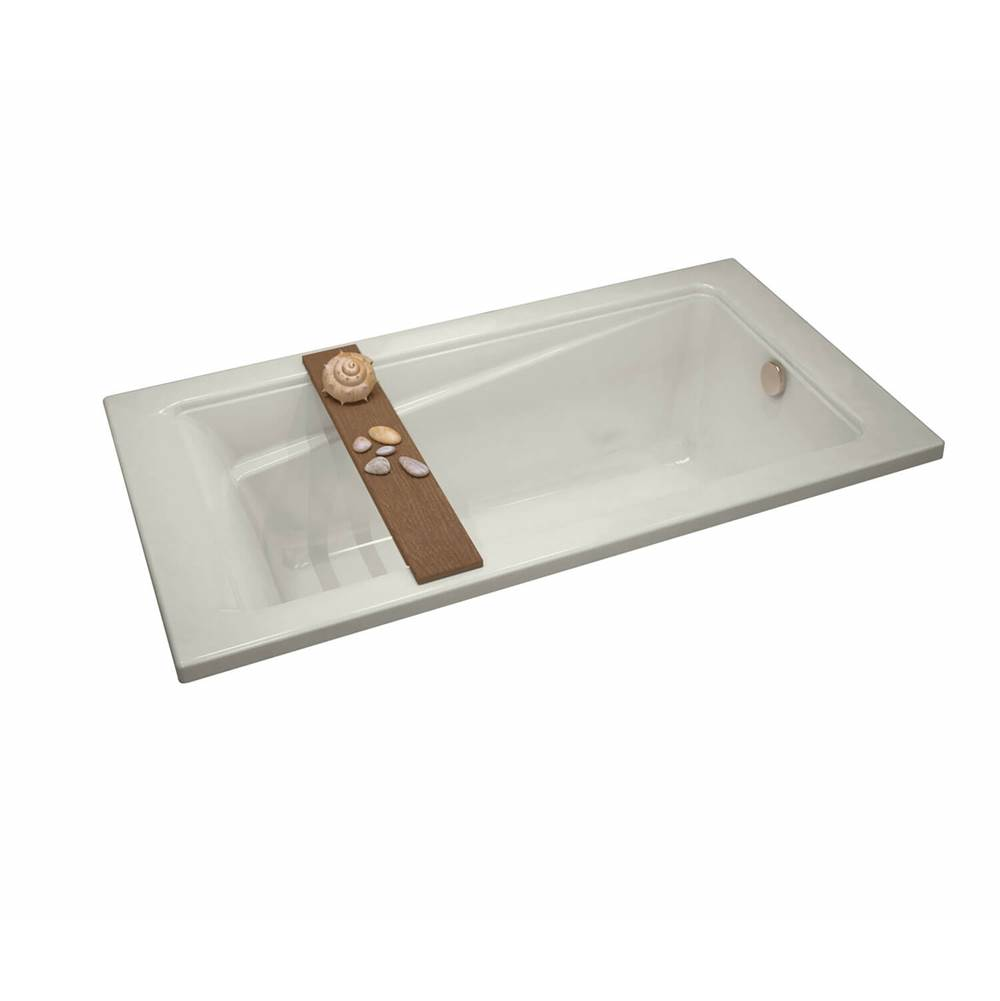 Maax Exhibit 71.875 in. x 34 in. Drop-in Bathtub with Aeroeffect System End Drain in Biscuit