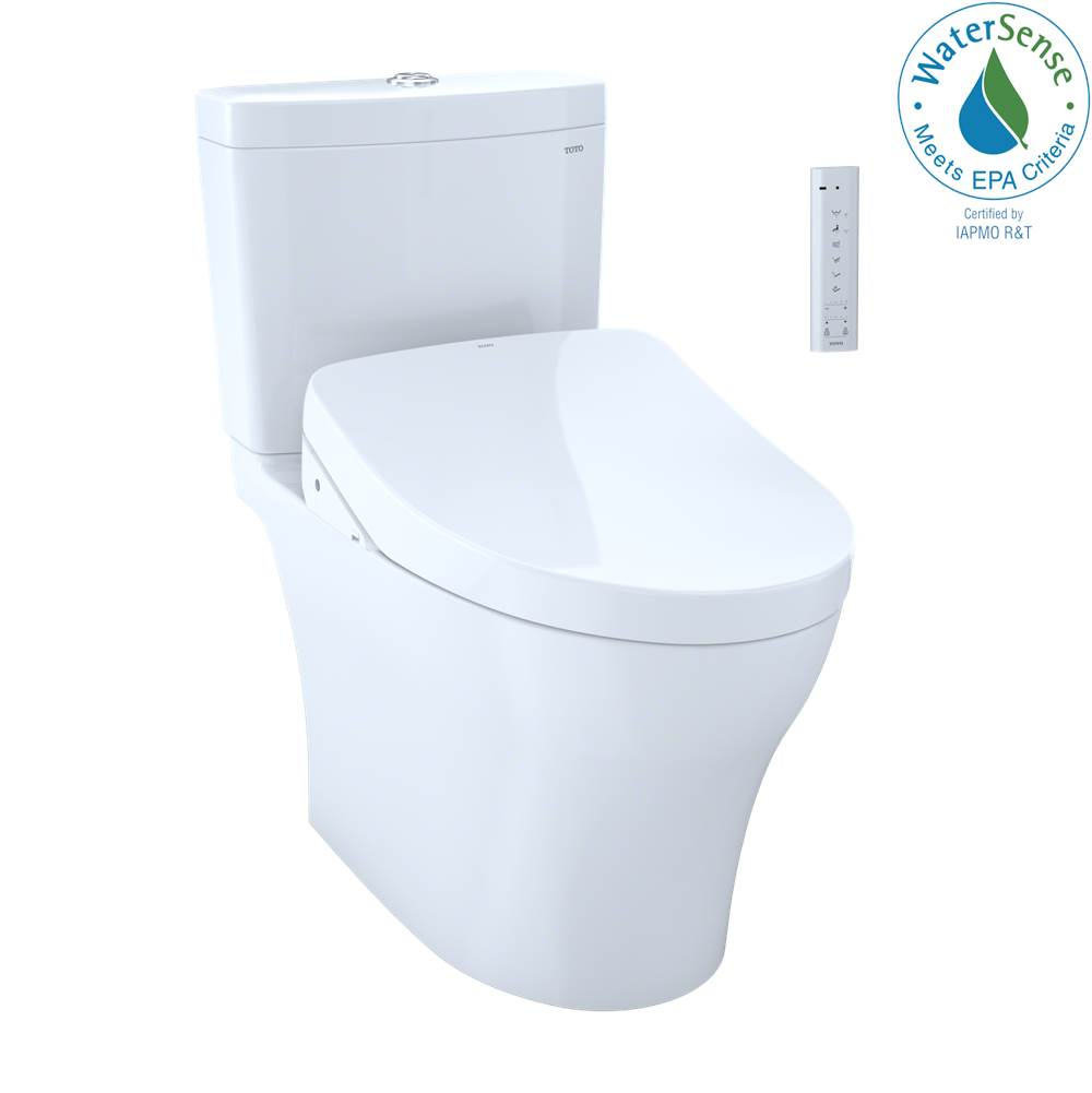 Toto WASHLET+® Aquia IV Two-Piece Elongated Dual Flush 1.28 and 0.8 GPF Toilet and Contemporary WASHLET S550e Bidet Seat, Cotton White