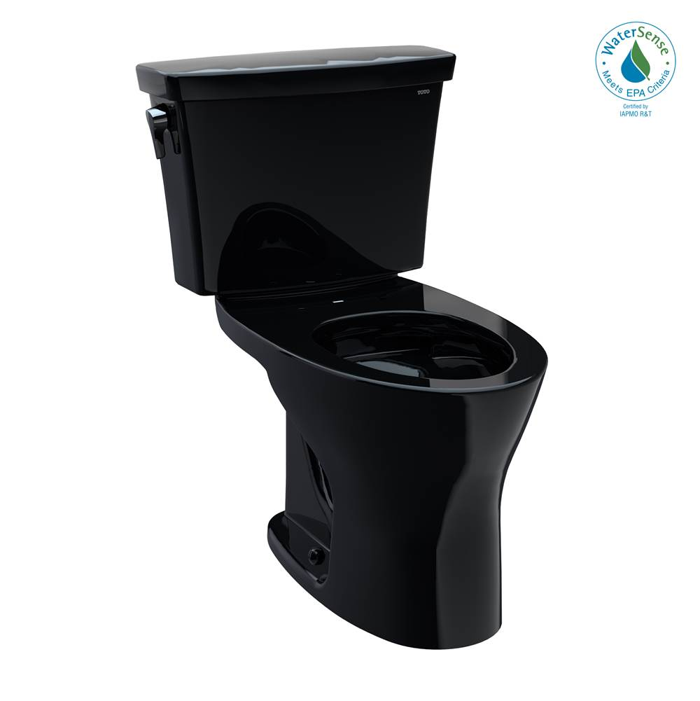 Toto Drake® Transitional Two-Piece Elongated Dual Flush 1.28 and 0.8 GPF Universal Height DYNAMAX TORNADO FLUSH® Toilet, Ebony