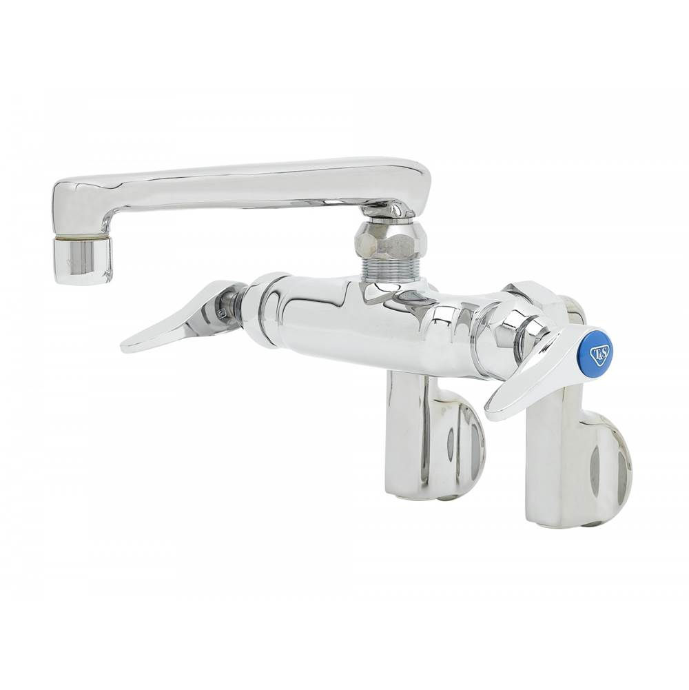 T&S Brass Double Pantry Faucet, Wall Mount, Adjustable Centers, 6'' Cast Spout, 2.2 GPM Aerator