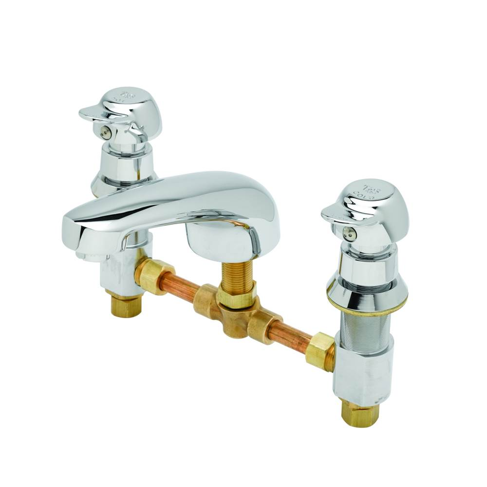 T&S Brass Metering Fct, Deck Mount, 8'' Centers, Cast Spout w/ 2.2 GPM Aerator, PA Metering